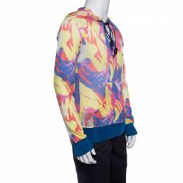 John Galliano Multicolor Printed Rib Trim Hooded Linen Sweatshirt L 140529