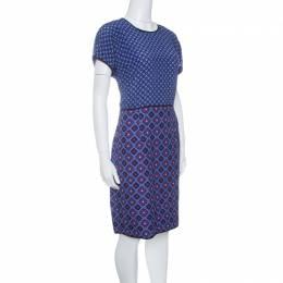 Victoria Victoria Beckham Purple and Blue Diamond Pattern Silk and Jacquard Dress M 142751