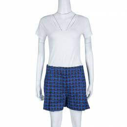 Louis Vuitton Blue and Black Printed Denim Pleated Shorts M