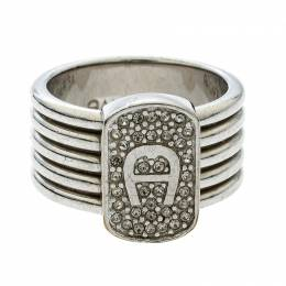 Aigner Crystal Silver Tone Band Ring Size 54 141468