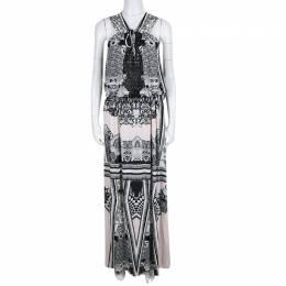 Roberto Cavalli Multicolor Printed Cutwork Neckline Detail Sleeveless Maxi Dress S 139062