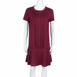Red Valentino Burgundy Pleat Detail Jersey Peplum Bottom Shift Dress XL 139015