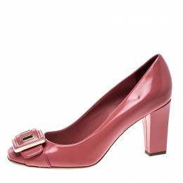 Dior Pink Leather Buckle Detail Block Heel Pumps Size 36.5 142852