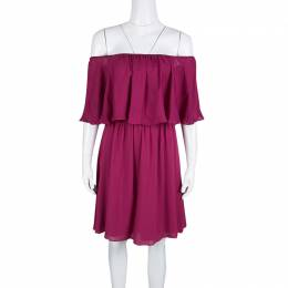 Alice + Olivia Cranberry Silk Dora Ruffled Off Shoulder Dress S 139145