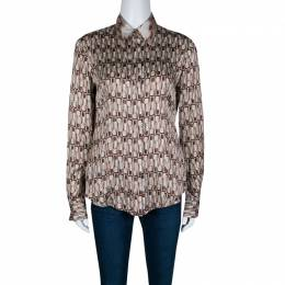 Just Cavalli Lipstick Printed Silk Satin Contrast Collar Shirt M