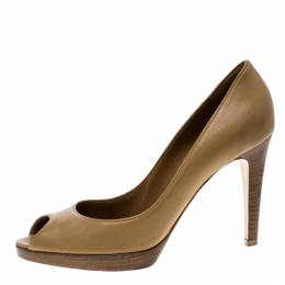 Gianvito Rossi Brown Leather Peep Toe Pumps Size 40.5 134152