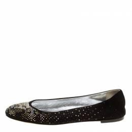 Giuseppe Zanotti Design Black Suede and Crystal Embellished Ballet Flats Size 39