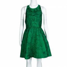 Alice + Olivia Emerald Green Floral Jacquard Racerback Tevin Dress S 133446