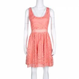 Alice + Olivia Salmon Pink Lace Odette Cross Back Sleeveless Dress S