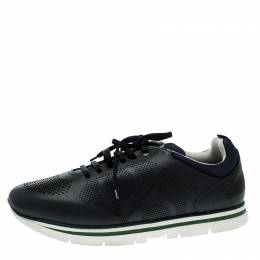 Salvatore Ferragamo Navy Blue Perforated Leather Mustang Sneakers Size 44.5 133470
