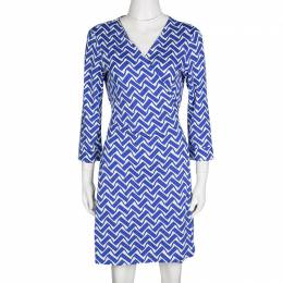Diane Von Furstenberg Blue and White Printed New Julian Two Wrap Dress L 133843