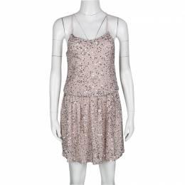 Alice + Olivia Dusty Pink Sequined T-Bar Bridget Blouson Dress XS 137499
