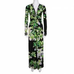 Roberto Cavalli Black Floral Printed Knit Long Sleeve Gathered Maxi Dress M 138350