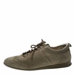 Louis Vuitton Beige Petit Damier Suede Low Top Sneakers Size 38