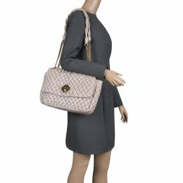 Moschino Beige Quilted Nylon Flap Shoulder Bag 134662