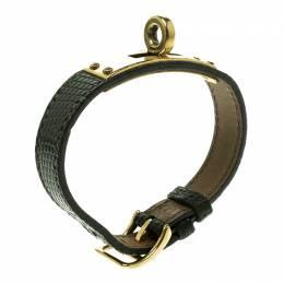 Hermes Green Lizard Skin Gold Plated Kelly Wristwatch Bracelet 133597