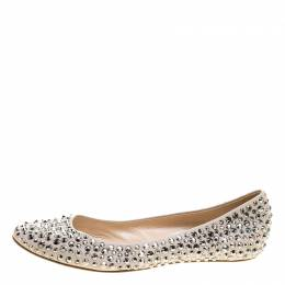 Casadei Beige Crystal Embellished Leather Ballet Flats Size 40