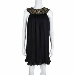 Alice + Olivia Black Embellished Neck Detail Sleeveless Silk Trapeze Dress XS 132803