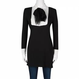 Saint Laurent Paris Black Sequinned Yoke Detail Long Sleeve Dress S