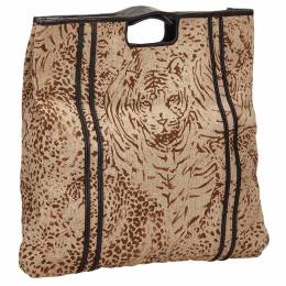Chloe Brown Tiger Print Fabric Top Handle Bag 127698