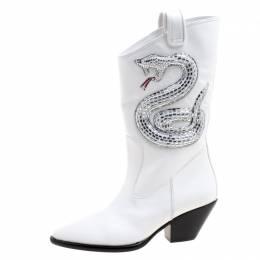 Giuseppe Zanotti Design White Snake Embellished Leather Guns 55 Cowboy Boots Size 38.5