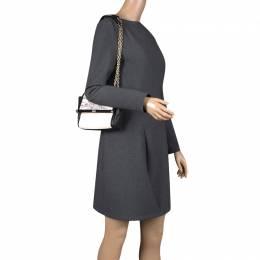 Diane Von Furstenberg Black/White Snakeskin Embossed and Leather Shoulder Bag