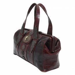 Kenzo Dark Brown Croc Embossed Leather Doctor Bag 131539