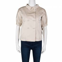 Bottega Veneta Beige Cotton Silk Double Breasted Pleat Detail Short Sleeve Jacket S 132452