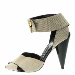 Tom Ford Beige Suede Cross Ankle Wrap Peep Toe Sandals Size 37 125870