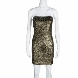 Alice + Olivia Metallic Sequined Strapless Nicolette Dress S 132726