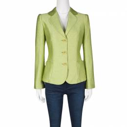 Armani Collezioni Textured Lime Green Three Button Blazer S