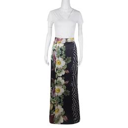 Roberto Cavalli Class Floral and Polka Dot Print Maxi Skirt XS 125962