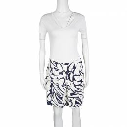Miu Miu White and Navy Floral Print Pocket Detail Mini Skirt M