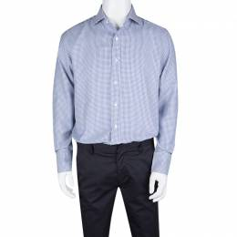 Tom Ford Blue and White Cotton Houndstooth Pattern Long Sleeve Shirt XL 131101