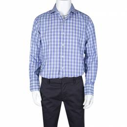Tom Ford Blue and White Checked Cotton Long Sleeve Shirt L