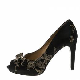 Salvatore Ferragamo Black Lace and Satin Teodora Peep Toe Bow Pumps Size 37.5 130076
