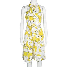 Diane Von Furstenberg Yellow and White Eden Garden Tenner Floral Print Halter Dress S
