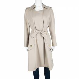 Yves Saint Laurent Beige Wool Belted Trench Coat L 115069