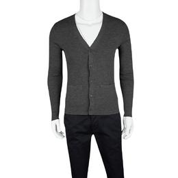 Ralph Lauren Grey Merino Wool Rib Knit Cardigan M 123272