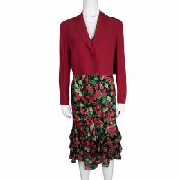 Moschino Couture Multicolor Cherry Print Bottom Ruffle Detail Dress and Blazer Set M