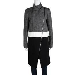 Joseph Tricolor Techno Tweed Zip Detail Preston Long Coat M 114896