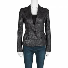 Gianfranco Ferre Brown Grass Snake Leather Jacket S