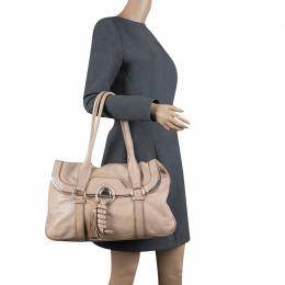 Celine Beige Leather Boston Bag