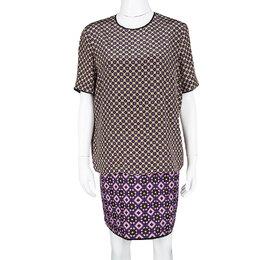 Victoria, Victoria Beckham Multicolor Printed Silk and Jacquard Short Sleeve Dress M