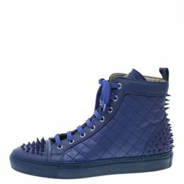 Le Silla Blue Quilted Leather Spike High Top Sneakers Size 37.5 124545