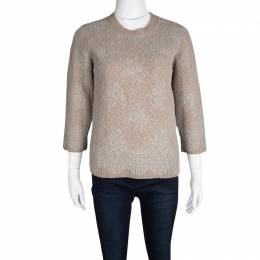 Louis Vuitton Dull Pink Cable Knit Lace Overlay Crew Neck Sweater M