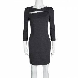 Diane Von Furstenberg Grey Wool Cutout Detail Slashed Arita Dress S 117218