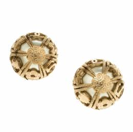 Chanel Faux Pearl Gold Tone Dome Stud Earrings 114822
