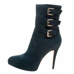 Gianvito Rossi Emerald Green Suede Buckle Detail Pointed Toe Boots Size 40 115253