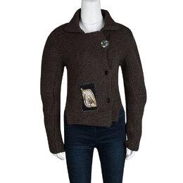 Joseph Mahogany Brown Button Knit Applique Detail Chunky Cardigan M 114482